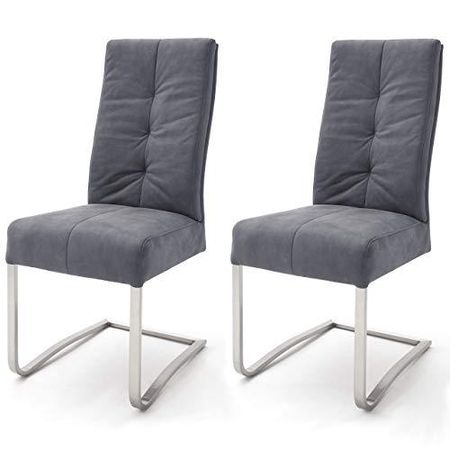 Robas Lund Esszimmerstühle 2er Set Grau, Schwingstuhl Esszimmerstuhl mit Taschenfederkern, Stuhl Salva 1
