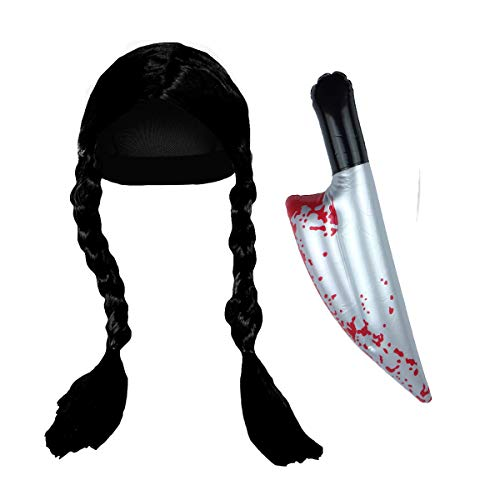 Paper Umbrella Paraguas de Papel para Disfraz de Miércoles de la Hija y el Miércoles, Juego de Accesorios para Peluca y Cuchillo, Color Negro