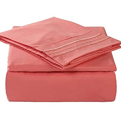 """TEKAMON Premium 4 Piece Bed Sheet Set 1800TC Bedding 100% Microfiber Polyester - Super Soft, Warm, Breathable, Cooling, Wrinkle and Fade Resistant - 10-16"""" Extra Deep Pockets, Full, Coral"""