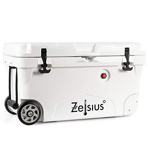Zelsius Kühlbox 50 Liter mit Räder | Coolbox | Fahrbare Cooling Box ideal für Auto Camping Urlaub Angeln Freizeit Outdoor | Thermobox für Warm und Kalt (weiß)