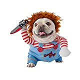 Halloween Doll Dog Costume Dog Clothes, Halloween Christmas Costumes for Dogs, Adjustable Dog Cosplay Costume Lethal Doll Wig Pug Dog Party Clothes for Small Medium Large Dogs Apparel Accessories (M)