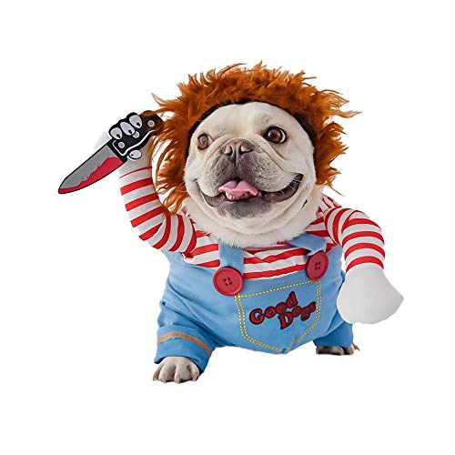 Halloween Doll Dog Costume Dog Clothes, Halloween Christmas Costumes for Dogs, Adjustable Dog Cosplay Costume Lethal Doll Wig Pug Dog Party Clothes for Small Medium Large Dogs Apparel Accessories (L)