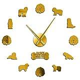 Leeypltm Reloj de Cuarzo de Pared silencioso,Viejo Pastor Inglés 47 Pulgadas Oro Reloj de Pared 3D DIY Reloj de Etiqueta de Pared para Decorar La Oficina o Casa