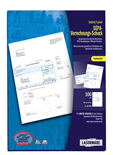 Laserware L0103 SEPA-Verrechnungsscheck A4, 100 Blatt