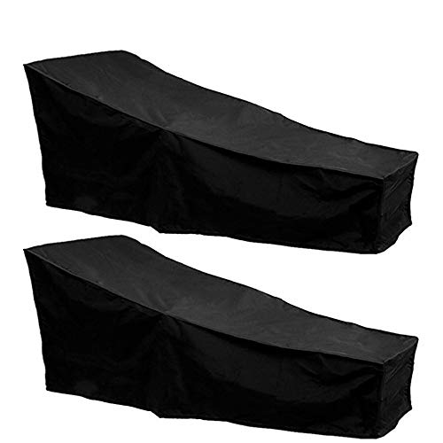 FlowersSea 2Pcs Outdoor Sunbed Covers Waterproof Anti UV Garden Sun Lounger Covers Rattan Patio Furniture Protector Black 2.08m X 0.76m X 0.41-0.79m / 6.82ft X 2.49ft X 1.34-2.59ft (2, Black)