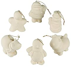 "Ready to Paint Ceramics Christmas Ornaments 6 Pack. Size 3"" with hanging ribbons Includes 1 of each: penguin, Santa, snowman, gingerbread man, reindeer and polar bear. We recommend using ceramic markers or acrylic paint, sold separately. Do It Yourse..."