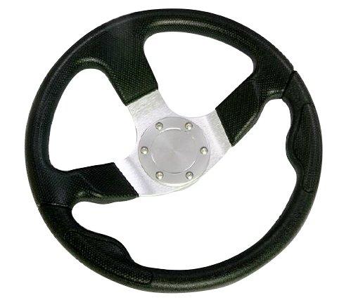 Woqi WH003 13-1/2 Inch Aluminum Alloy Three Spoke Marine Boat Steering Wheel