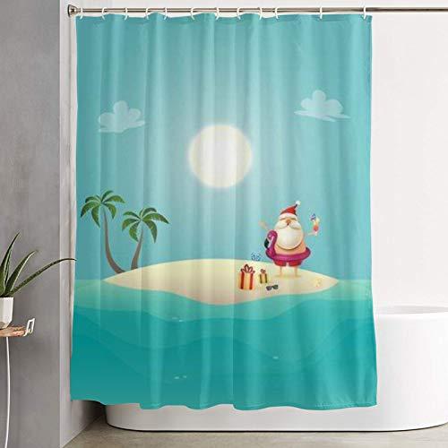 AMIGGOO Papá Noel con Flotador de baño Inflable en Siland Celebre la Navidad del Verano en Junio, Cortina de baño Cortina de baño Lavable Tela de poliéster con 12 Ganchos de plástico 180x180cm