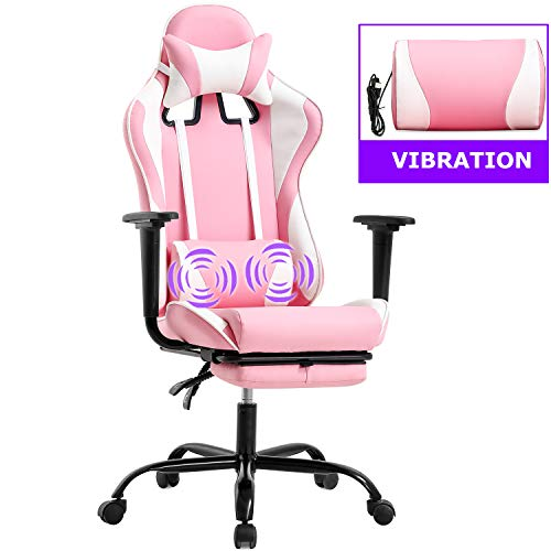 PC Gaming Chair Racing Office Chair Ergonomic Desk Chair Massage PU Leather Recliner Computer Chair with Lumbar Support Headrest Armrest Footrest Rolling Swivel Task Chair for Women Adults, Pink