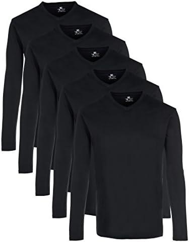 Lower East Pack de 5 Camisetas Manga Larga con Cuello Pico
