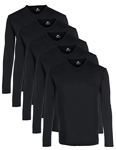 Lower East Herren Langarmshirt mit V-Ausschnitt, 5er Pack, Schwarz, 3XL