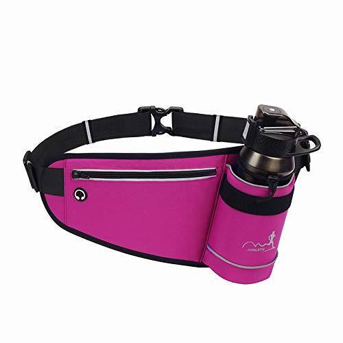 ランニング ポーチ -ボトルホルダー付き揺れないウエストポーチ(水筒は含まない) -大容量、防水-適用する ジョギング、自転車に乗る、 ロッククライミング- (紫?色)