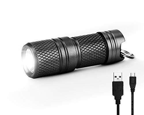 Manfore - Mini linterna con llavero, cargador USB, linterna de mano LED de aluminio con llavero para exteriores, camping, senderismo, caza, excursiones a la mochila, pesca