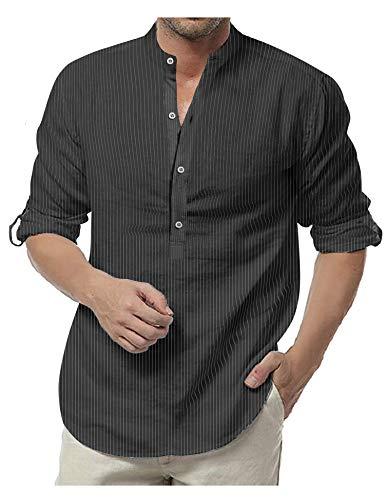 COOFANDY Herren Langarmshirt Gestreift Kent Kragen Kurze Knöpfen Regular Fit Freizeithemd für Männer Schwarz Weiss M