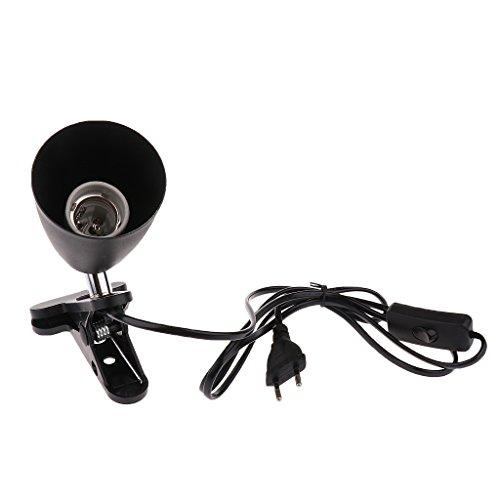 MagiDeal E27 EU Plug Porte-lumière Ampoule UVB en Céramique de Reptile - Noir, 12.5cm