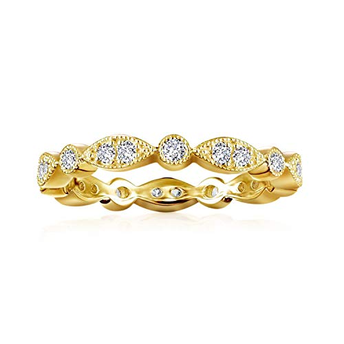 PAVOI 14K Yellow Gold Plated Rings Cubic Zirconia Band   Round Milgrain Eternity Bands   Yellow Gold Rings for Women Size 6