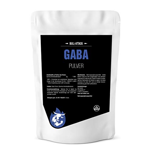 GABA PULVER von Bull Attack | 250g Big Pack - 100% Ohne Zusätze | Reines Gamma Amino Buttersäure Pulver