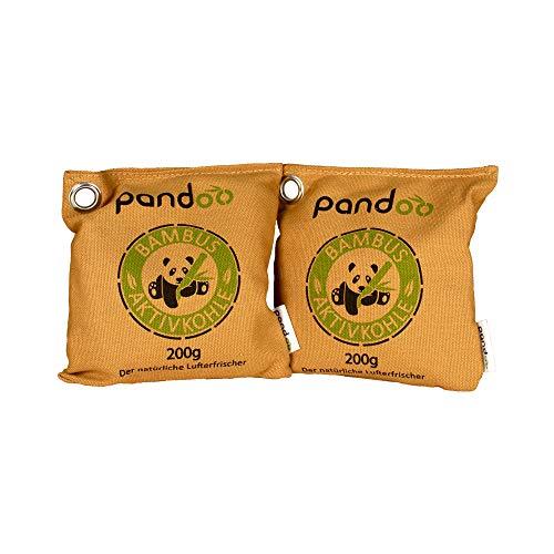 pandoo Lufterfrischer aus Bambus (2 Stück je 200 g) natürlich mit Aktivkohle – Luftreiniger, Luftentfeuchter, Raumerfrischer & Geruchsentferner für Wohnung und Auto