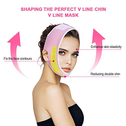 Face Lift Firming Bandage, V Line Lift Strap Face Skin Bandage Remove Double Chin Facial Care Tool with Adjustable Magic Stick Strap for Face Beauty Smooth