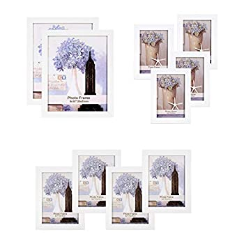 SONGMICS Picture Frames Set of 10 Two 8 x 10 Inches Four 5 x 7 Inches Four 4 x 6 Inches Collage Photo Frames Clear Glass Front White URPF10WT