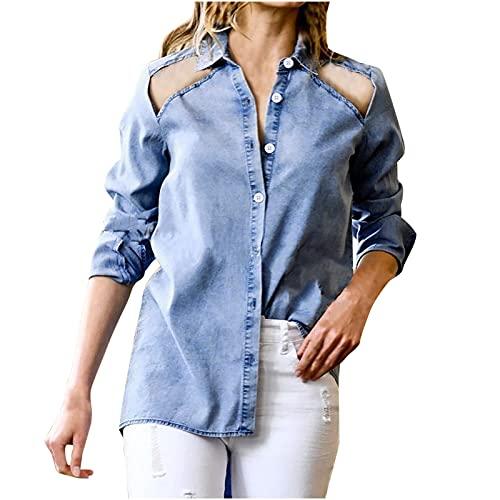 WANGTIANXUE Blusa vaquera para mujer, informal, con botones, camiseta básica, de corte ajustado, de manga larga, para mujer, sexy, cuello alto, blusa, azul, M
