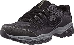 top 10 most comfortable work shoes for men Skechers Men's Afterburn M. Fit Sneakers, Black, 11 X Wide US