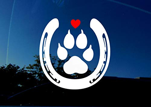 Horse and Dog Lover - PAW Horse Shoe - 5' x 5' inches - Actual Size of Large Dog paw and Horse Shoe - Animal Decal Sticker for car Trailer Truck Window Wall Laptop - RED Love Heart.