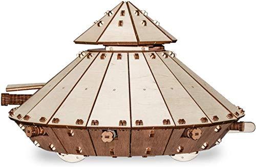EWA Eco-Wood-Art EWA EcoWoodArt 3D Holzpuzzle für Jugendliche und Erwachsene-Mechanischer Panzer T-34 Modell-DIY-Bausatz, Da Vinci Fahrzeug, Selbstmontage, kein Kleber erforderlich
