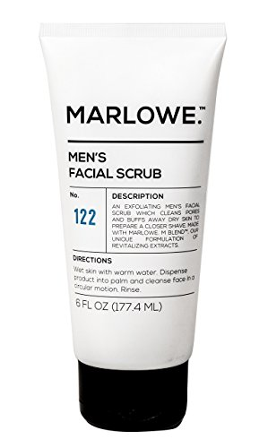 MARLOWE. No. 122 Men's Facial Scrub 6 oz | NEW Improved Formula | Light Daily Exfoliating Face Cleanser | Fresh Sandalwood Scent | Made with Natural Ingredients