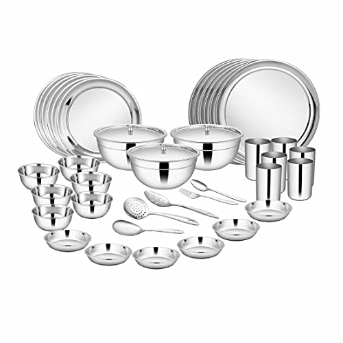 Shri & Sam High Grade Stainless Steel Dinner Set, 51-Pieces, Service for 6 People, Silver