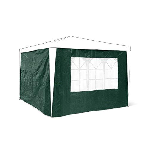 Relaxdays Pavillon-Seitenteile 2-er Set für 3 x 3 m Pavillons Seitenwand mit Fenster für Gartenpavillon und Faltpavillon 2 Teile mit Klettverschluss als Windschutz und Sichtschutz für Partyzelt, grün