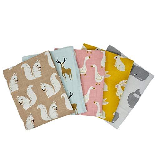Tiny Alpaca Pack of 5 Organic Muslin Squares