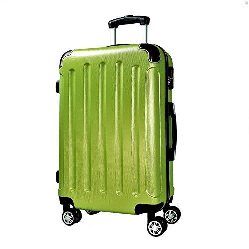 Reisekoffer BERLIN Hartschale Trolley XL Reise Koffer Case Tasche Trolly Doppelrollen (Apfelgruen)