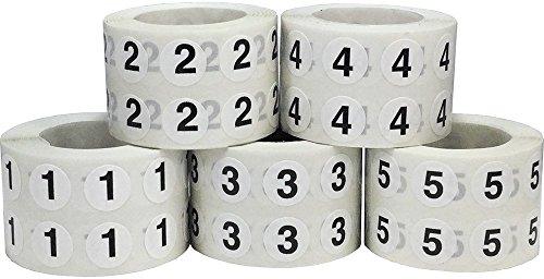 Nummern 1-5 Kreis Etiketten Großpackung, 13 mm 1/2 Zoll Inventar Aufkleber, 5 Nummern, 1000 pro Nummern