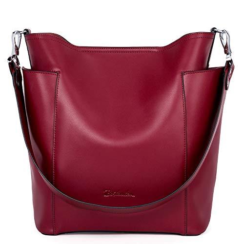 BOSTANTEN Bolso de Mano Mujer Cuero Genuino Bolso de Hombro Hobo Bag Moda Bolsos Tote Shopper Grande Bolsos Bandolera Rojo