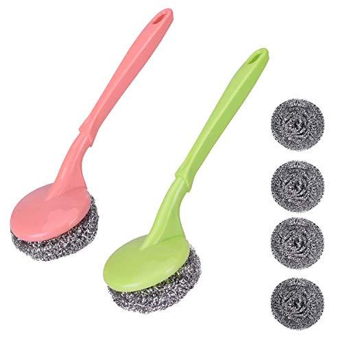 Tampon à récurer en acier inoxydable avec manche en plastique Brosse de nettoyage en acier inoxydable et récureurs pour fil en plastique1 (bleu)