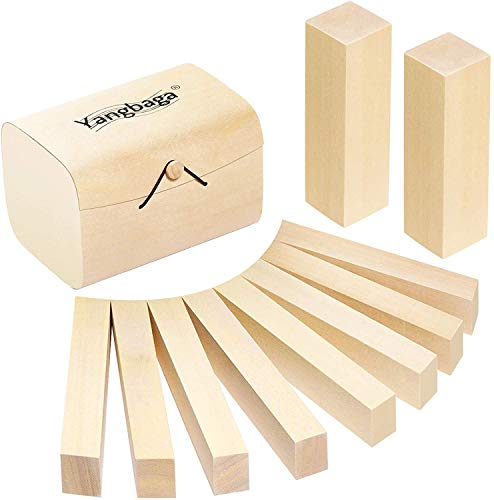 Bloques de Talla de Madera con Caja Yangbaga 10pcs Kit de Talla de Madera, para Tallar Madera Kit de Hobby para Adultos para Niños Dos tamaños