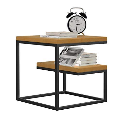 Table Basse multifonctionnelle Double Table d'appoint en Bois Massif Téléphone Etagère de Chevet en Fer forgé Etabli Salon Chambre Canapé Bureau