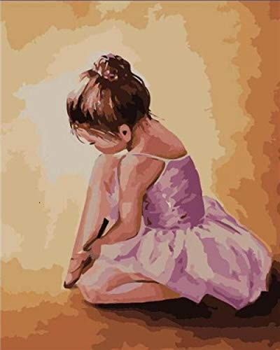 Pintar por Numeros Adultos Niños Niña Bailarina Cuadros por Numeros con Pinceles Lienzo y Pinturas Acrilicas DIY Kit Conjunto Completo de Pinturas Para el Hogar Cuadros(40 * 50cm, Sin Marco)