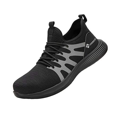 Zapatillas de Seguridad Hombre Mujer Calzado de Trabajo S3 Punta de Acero Protección Ligeras Antideslizante Negro 42