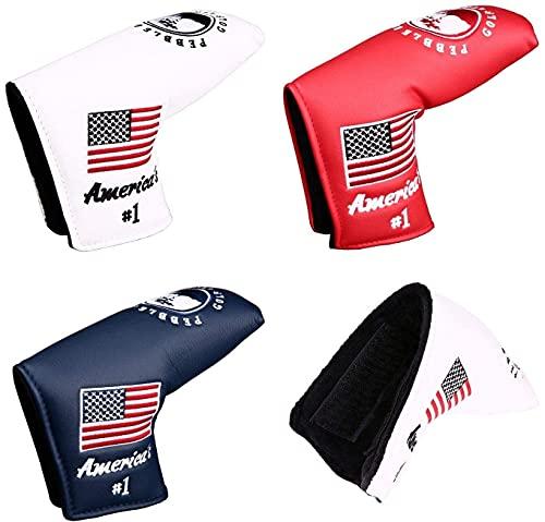 ゴルフパターカバー ヘッドカバー スコッティーキャメロン オデッセイに適合 マジックテープ開閉式 アメリカ刺繍 ピンタイプ 紺 白 赤 (紺)