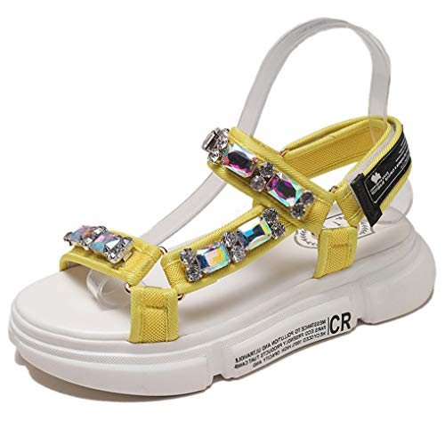High Platform Thick Bottom Big Crystal Straps Gladiator Summer Shoes Woman Casual Beach Sandalias Yellow 8.5