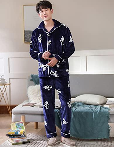 SDCVRE Conjunto de Pijama Conjuntos de Pijamas de Franela Gruesos de Invierno para Hombre Pijamas de Manga Larga para Hombre Pijama de Talla Grande Ropa de Dormir Ropa de hogar Pijamas Casuales par