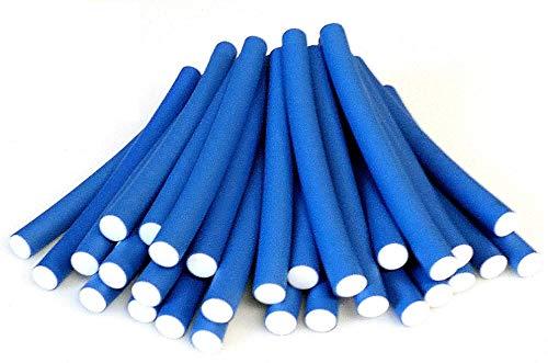 Papilotten - Flex-Wickler Set + Kosmetiktasche - Menge u. Größe nach Wahl (blau 14 mm - 36 Stck. + Tasche) (von deutschem Friseurbedarf-Fachhändler!)