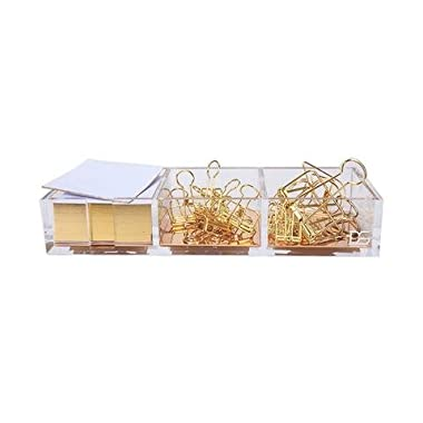 Clarity Gold Notes Holder with Cube Memo Pad 320 Sheets, Acrylic 3 in 1 Drawer Organizer by Draymond Story (Clips Sold Separately) - Gold Stationery Series