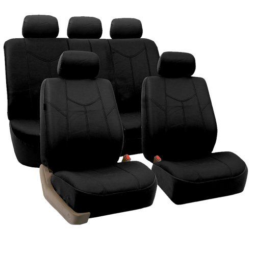 FH-PU009115 Rome PU Leather Seat Covers, Full Set, Airbag compatible and Split Bench, Solid Black