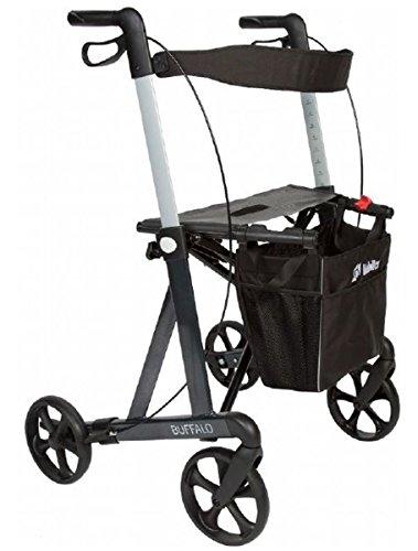 FabaCare Premium Rollator Set Buffalo 312307, Aluminium, faltbar, mit Vollausstattung, Sitzfläche, Rückengurt, Tasche, Alurollator bis 200 kg, Sitzhöhe 55 cm, mit FabaCare Sicherheitsreflektoren