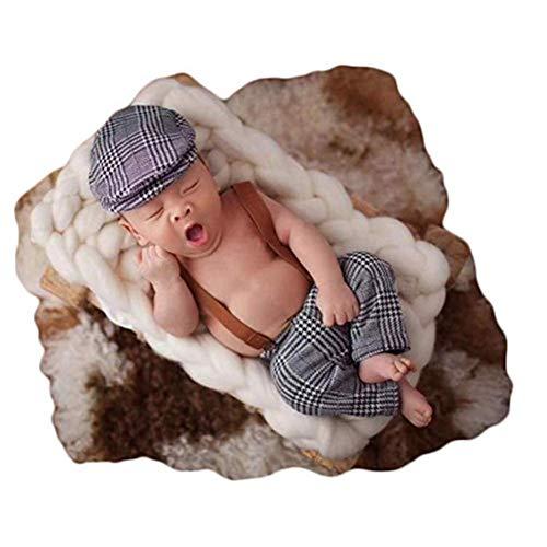 Linberfor Mode niedlichen Neugeborenen gestrickte Jungen Mädchen Baby Fotografie Requisiten Outfits Coole Jungen Hut mit Strampler Sets (Grau)