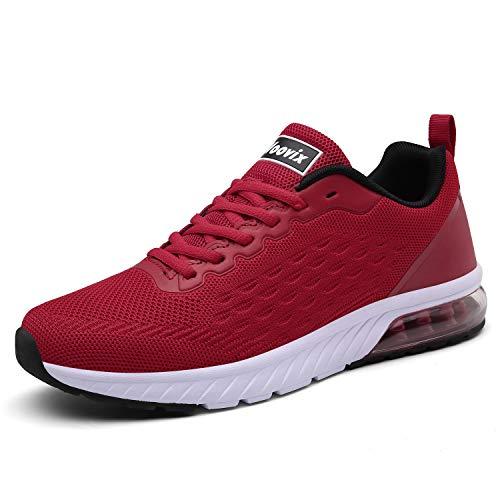 Voovix Laufschuhe Damen Herren Sportschuhe Straßenlaufschuhe Sneaker Outdoor Turnschuhe Leichte Atmungsaktiv Fitnessschuhe(Red,41)