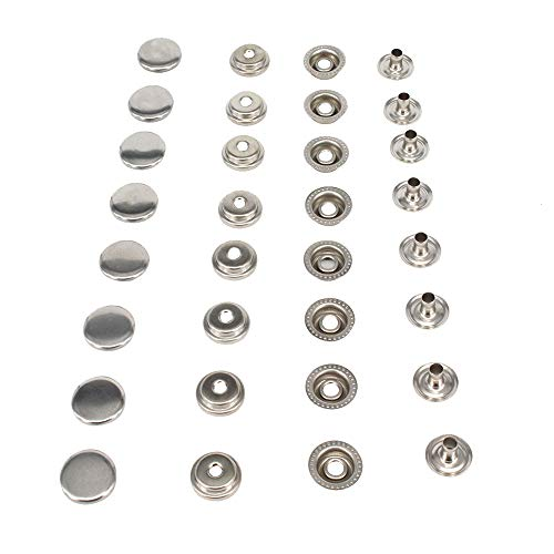 "HKOO Snap Fasteners 100% Stainless Steel Boat Marine Canvas Upholstery Snaps Cap - Socket - Stud - Eyelet All Four Parts,15mm Cap (80 Pieces) (5/8""Stainless Steel)"